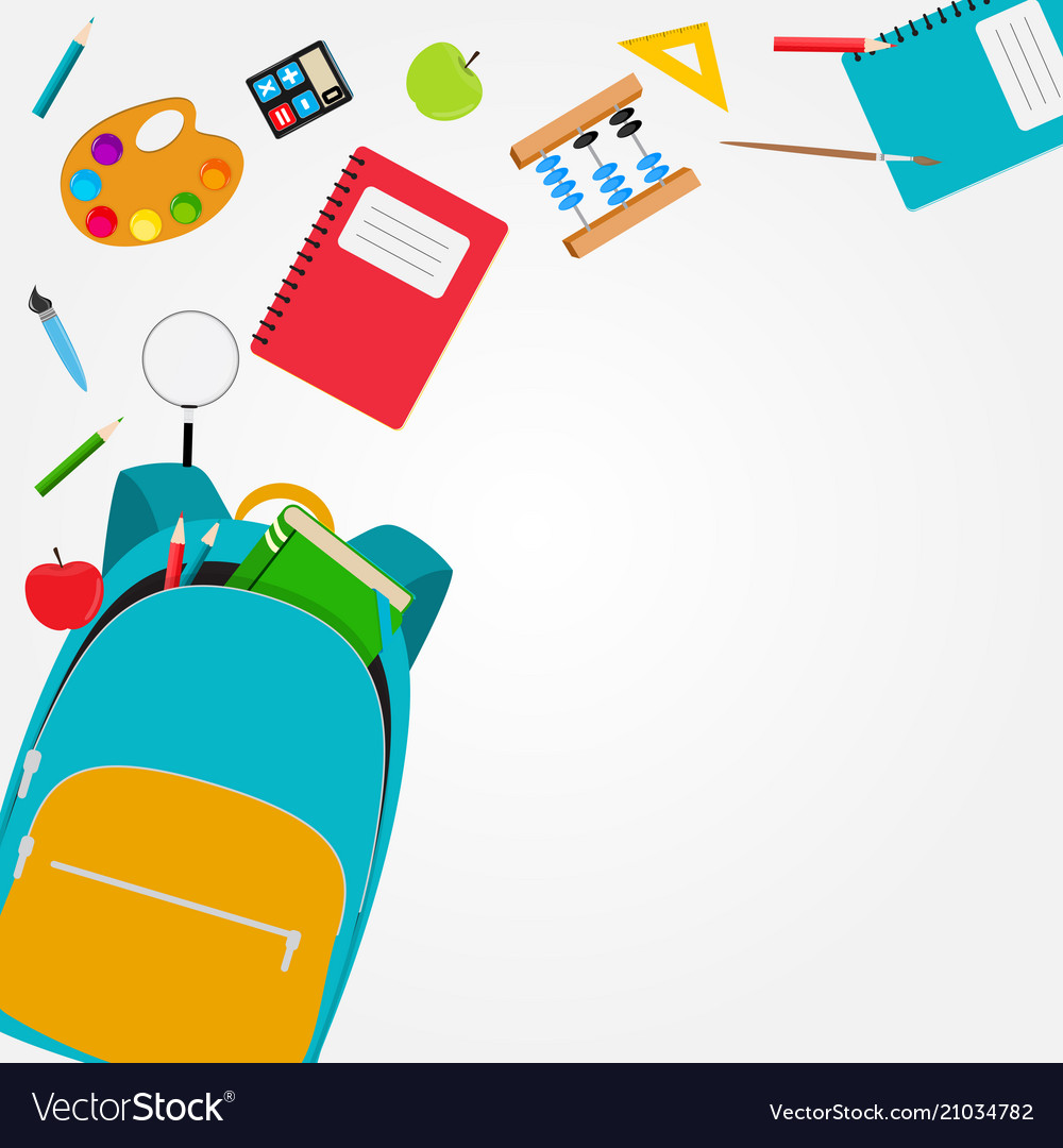 Bag backpack icon with school accessories