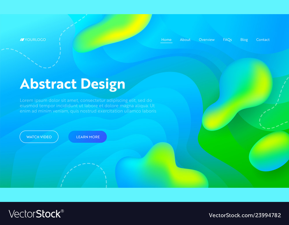 Blue abstract wave drop shape landing page