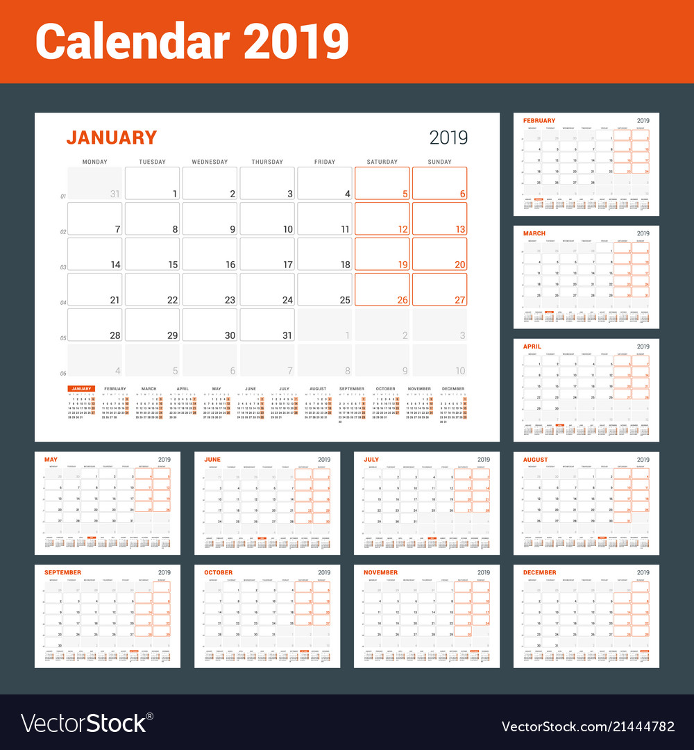 Calendar Pages To Print 2019.Calendar Planner For 2019 Year Set Of 12 Pages