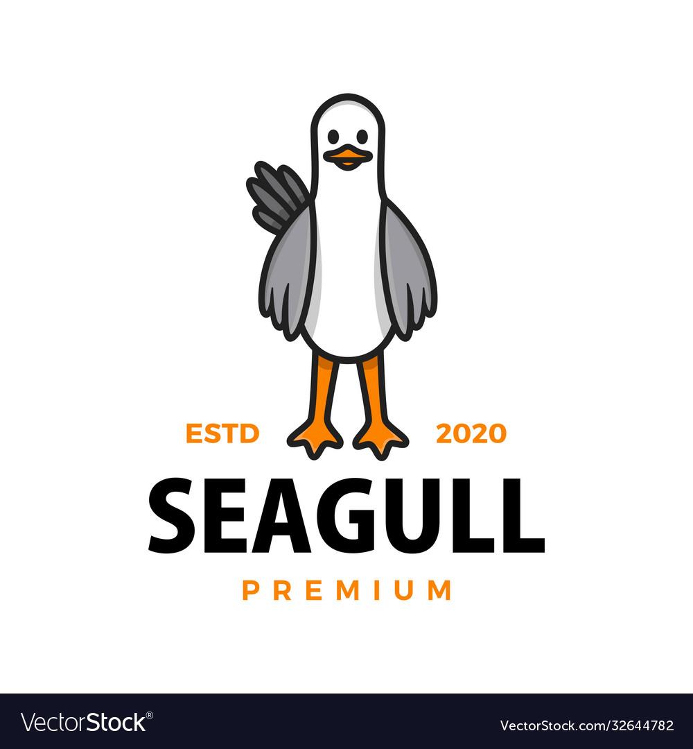 Cute seagull cartoon logo icon