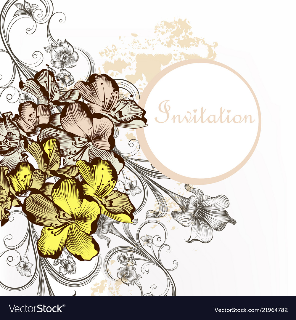 Floral invitation card with flowers in vintage