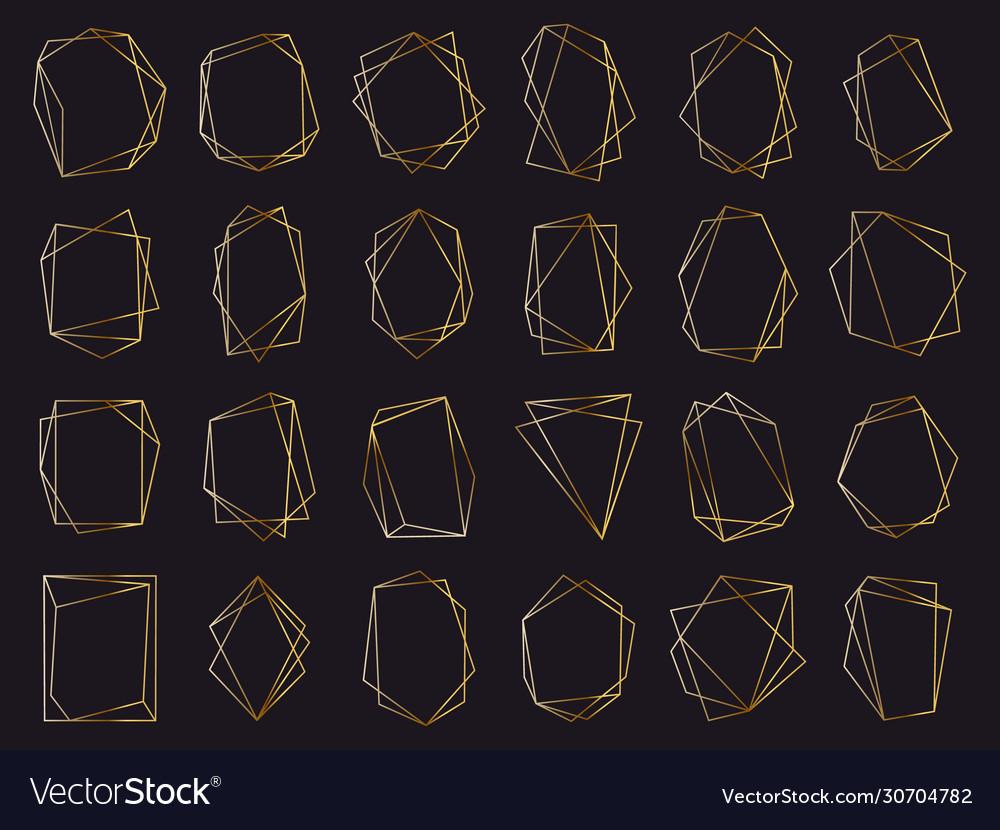 Gold geometric frames elegant golden luxury