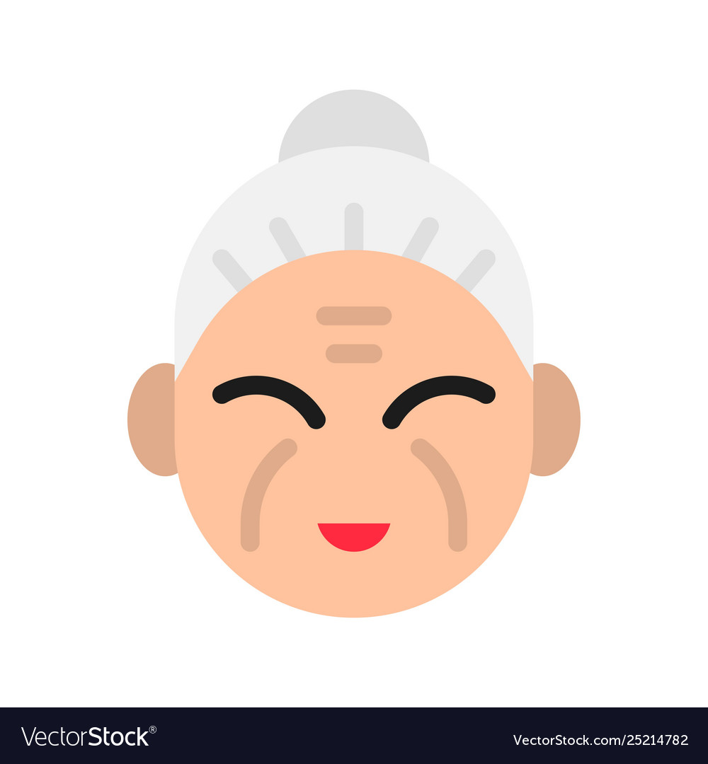 Grandma Chinese Lunar New Year Flat Style Icon Vector Image
