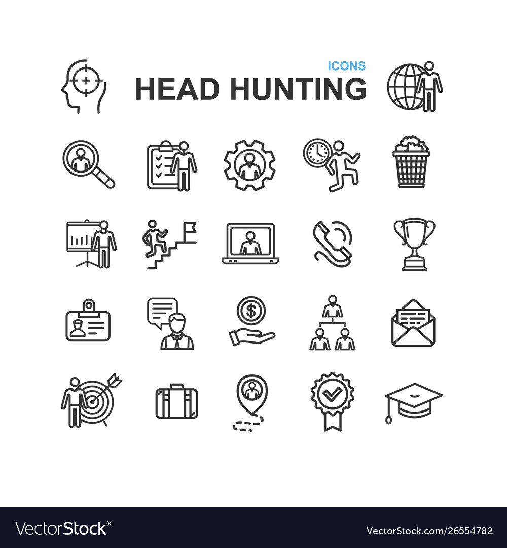 Head hunting black thin line icon set