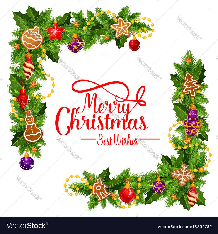 Merry christmas frame wreath