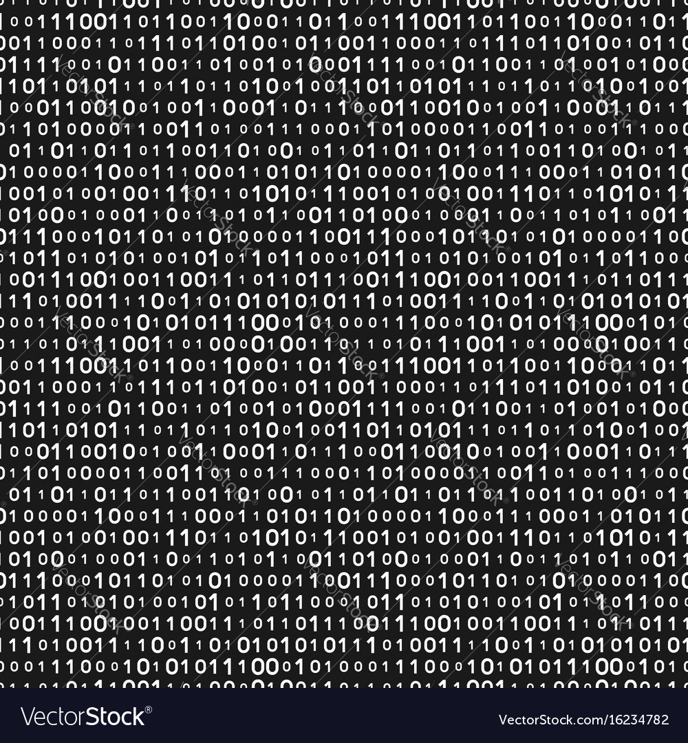 Monochrome binary code seamless pattern