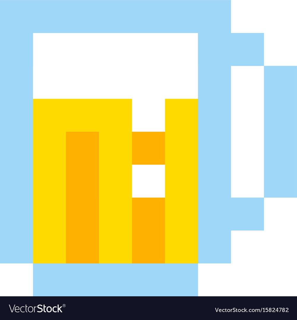 Pixel beer glass template vintage brewery sign
