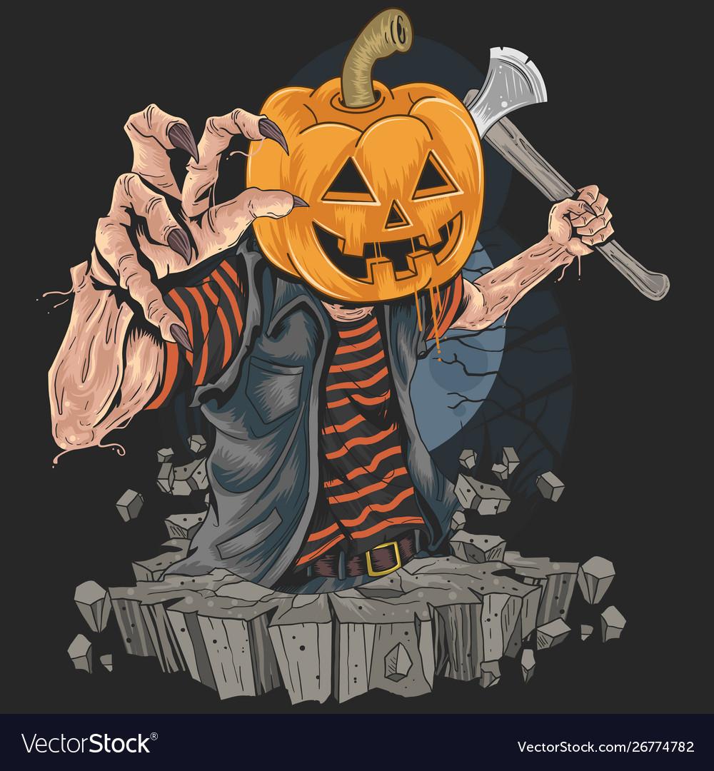 Pumpkin zombie halloween killer artwork