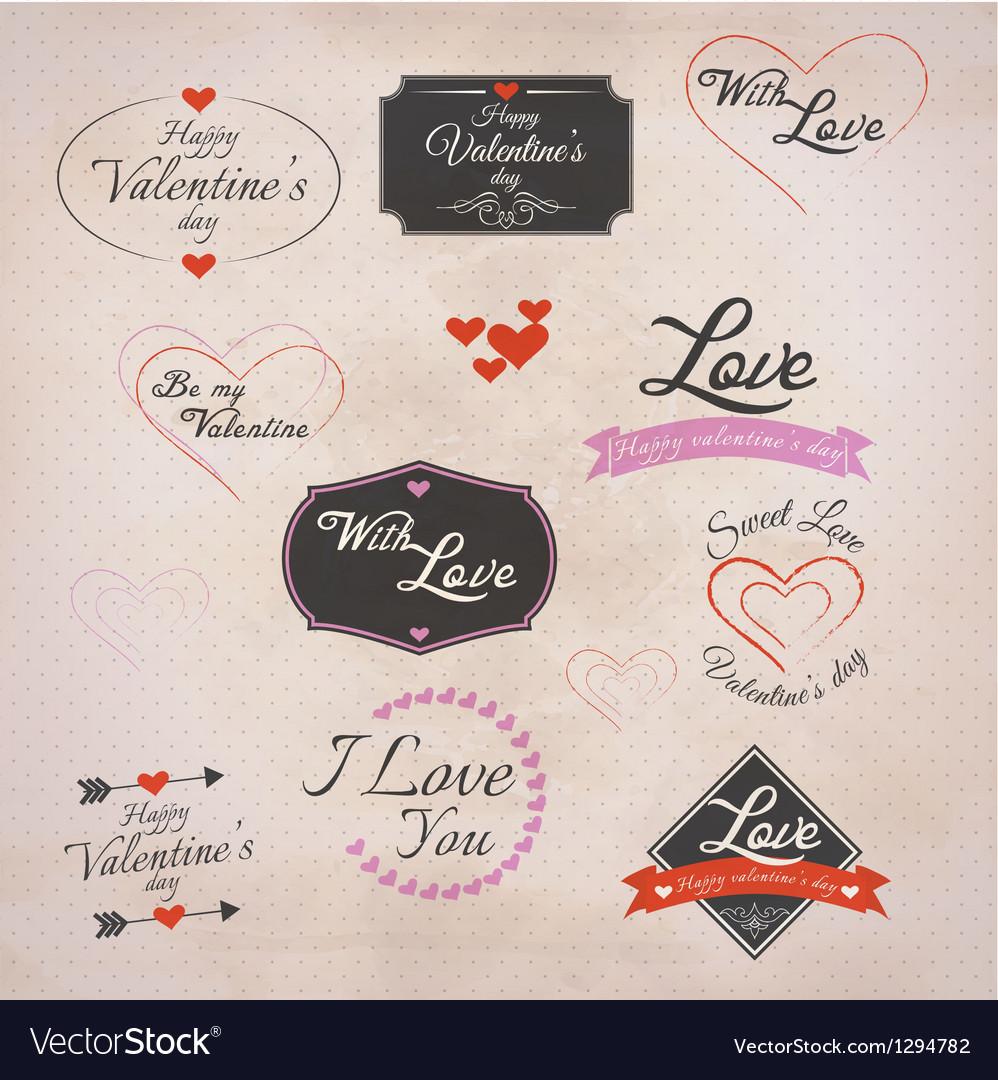Retro valentines labels
