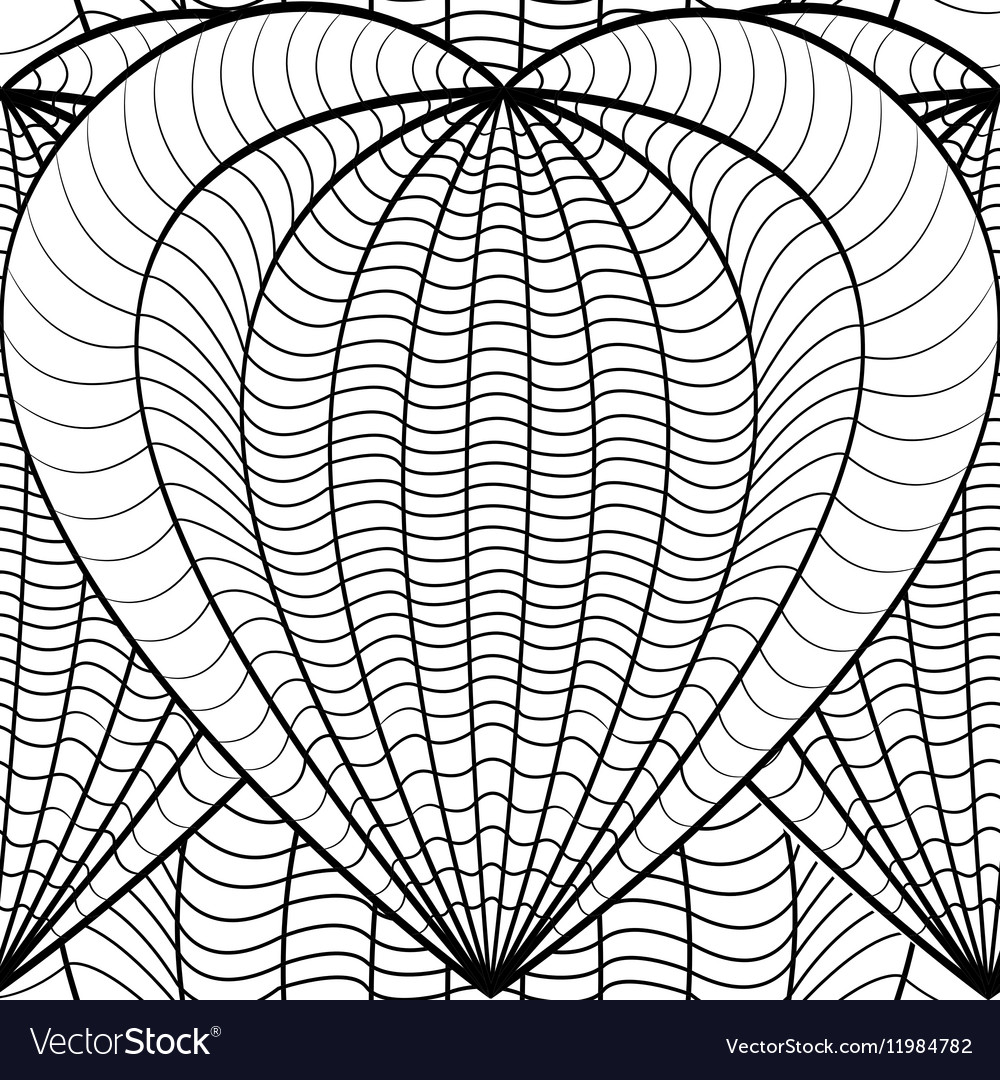 Seamless Decorative Love Heart Coloring book for