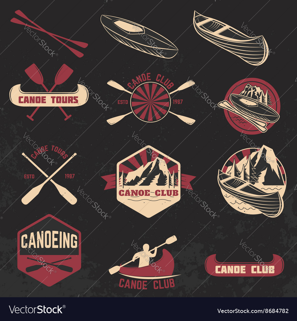 Set of canoe club labels badges and design