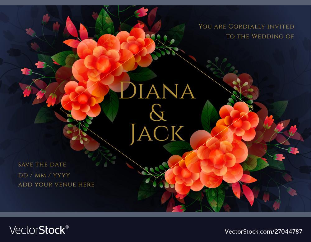 Artistic Flower Wedding Card Design In Dark Theme Vector Image