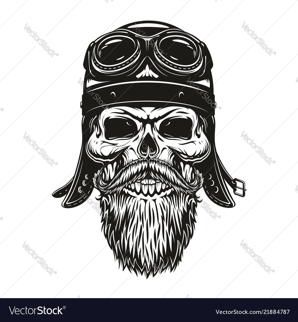 Biker Skull Sketch In Helmet And Glasses Vector Image