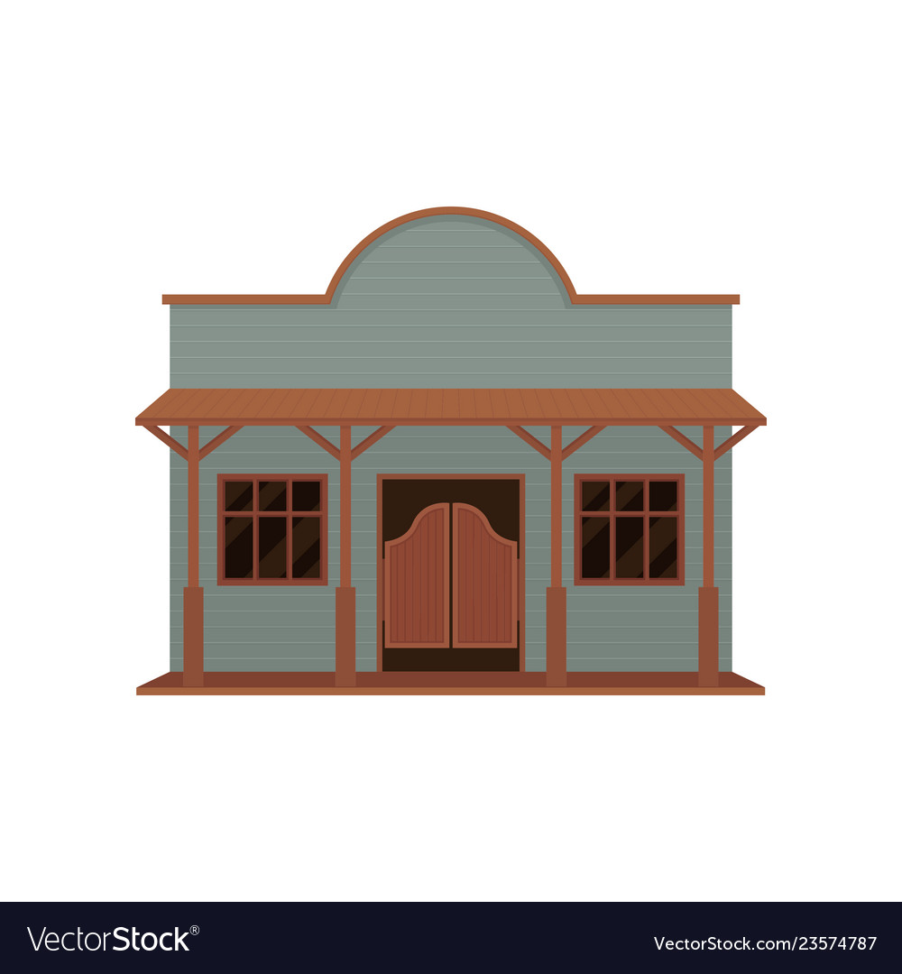 Blue Old Western House With Wood Brown Swinging Vector Image