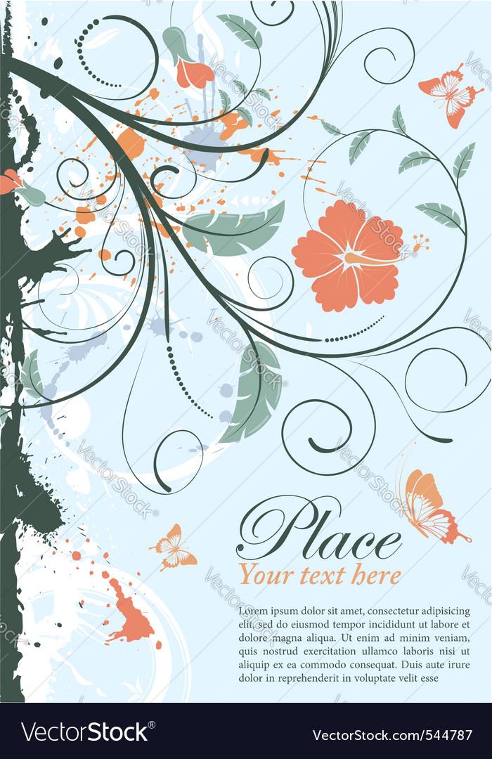 Grunge decorative floral frame