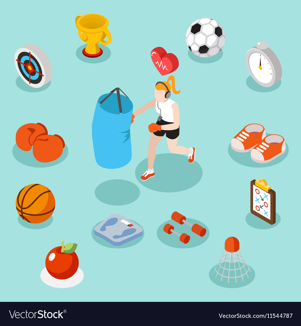 Isometric sport lifestyle and fitness flat 3d