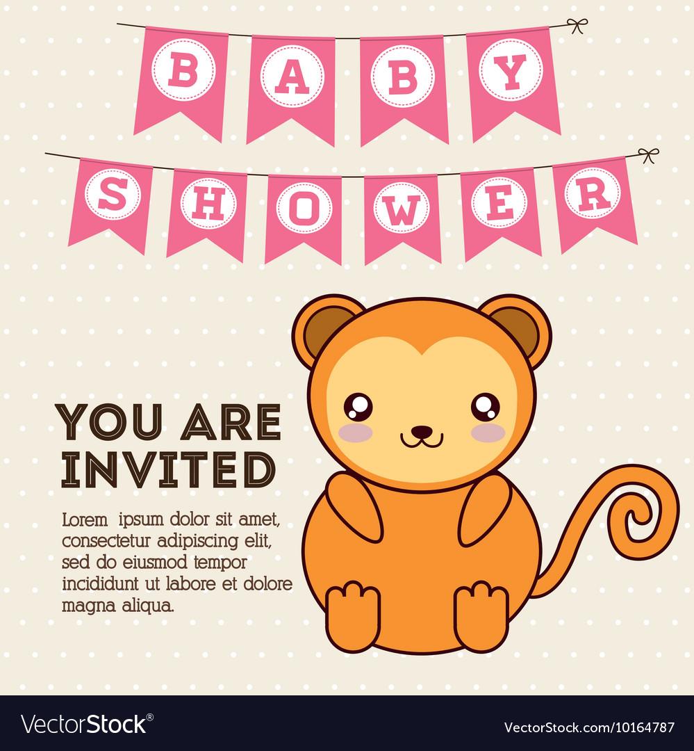 Kawaii Monkey Baby Shower Design Graphic Vector Image