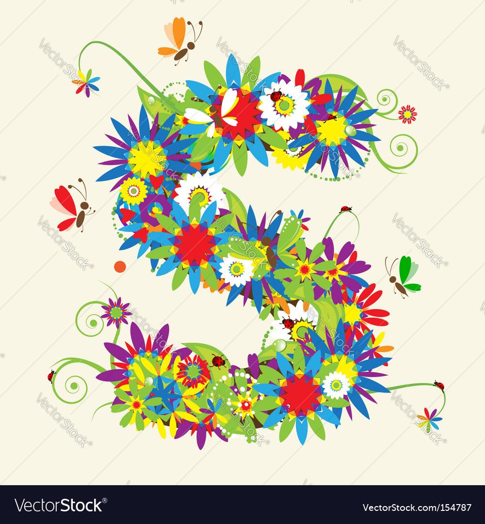 letter s floral design royalty free vector image