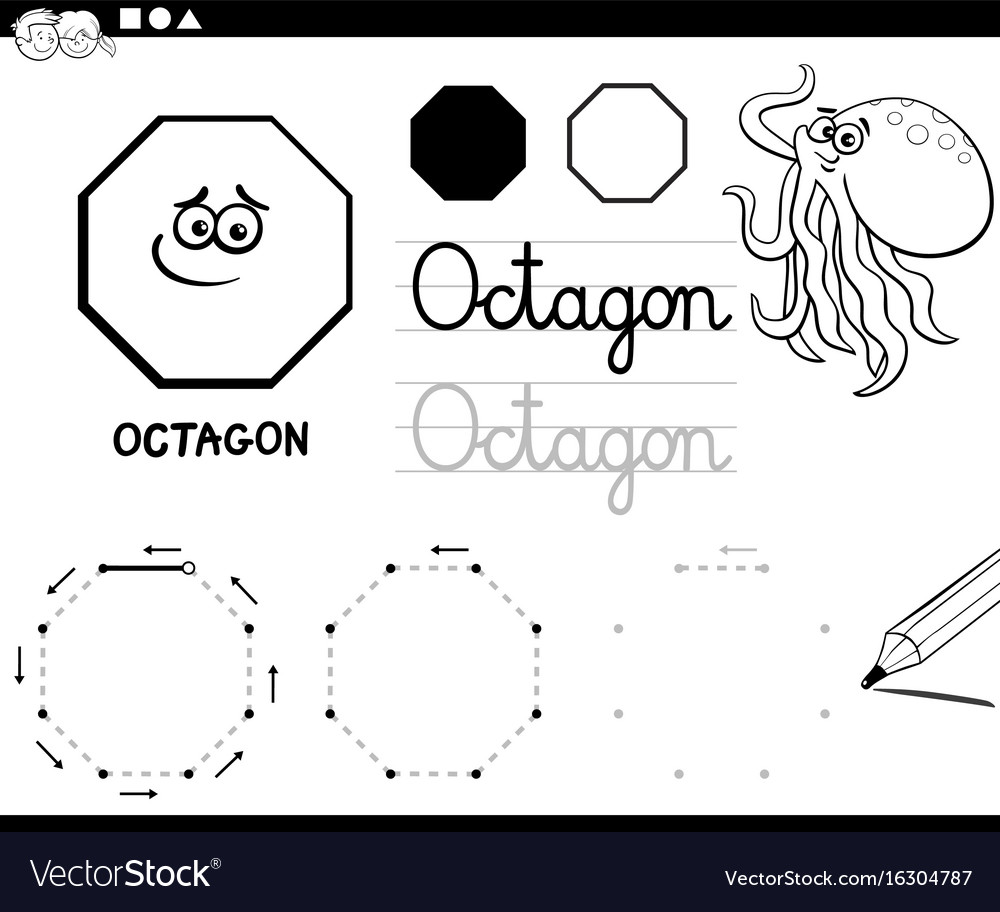 Octagon Basic Geometric Shapes Coloring Page Vector Image