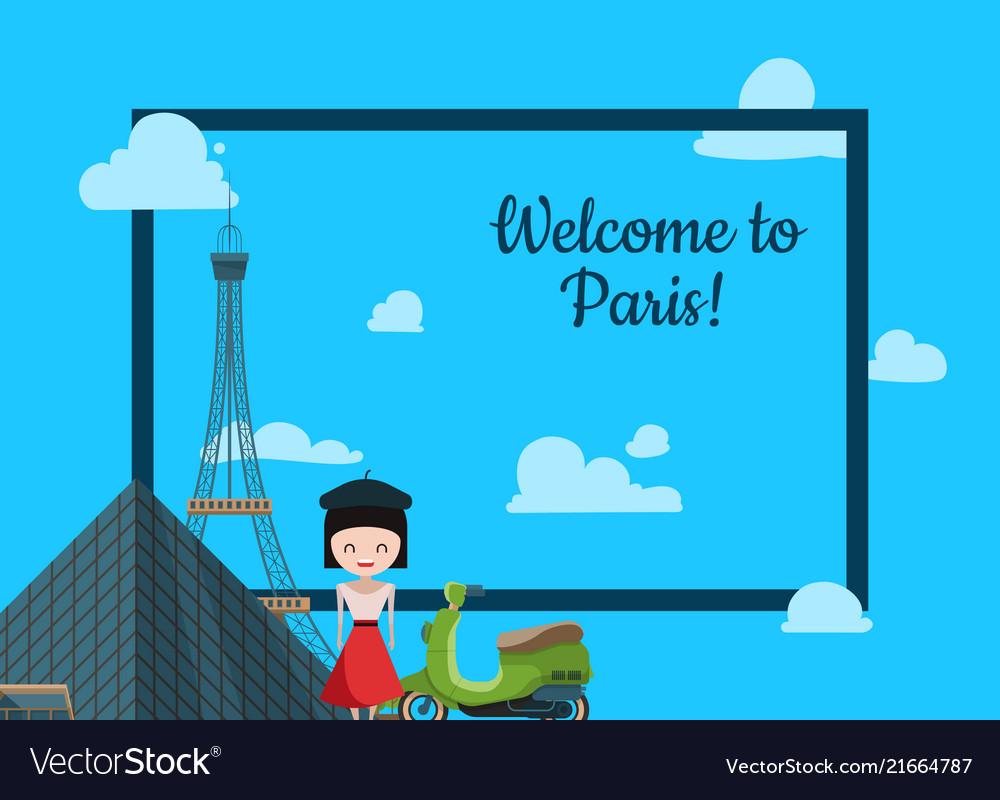 Paris background cartoon france sights