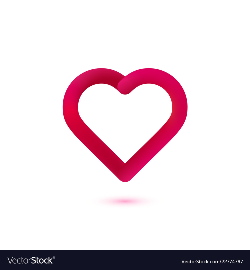 Red gradient heart logo abstract happy
