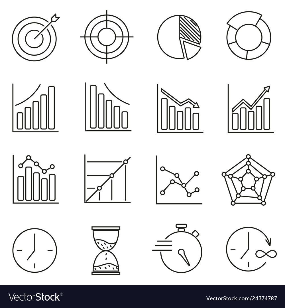 Set of icons for business training time graphics