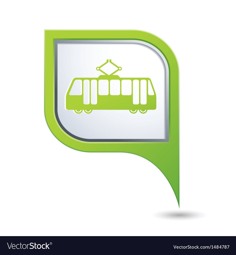 Tram icon on green map pointer