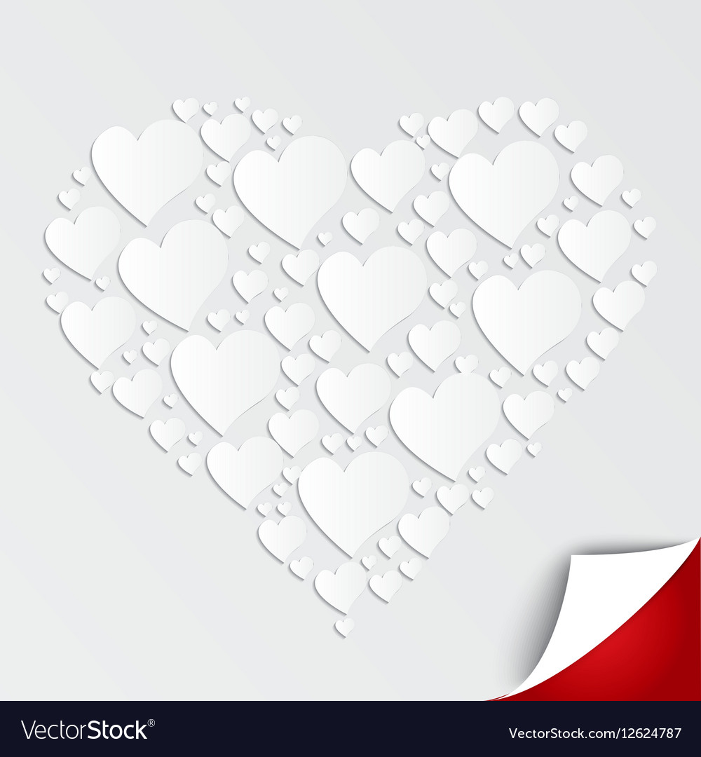 Valentines heart of paper on white background