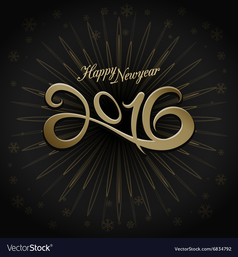 2016 happy new year greeting on black background