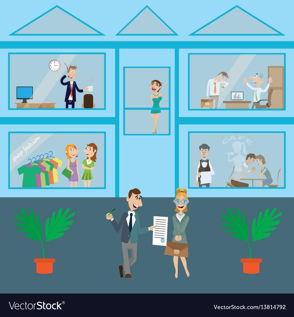 A modern business center vector image