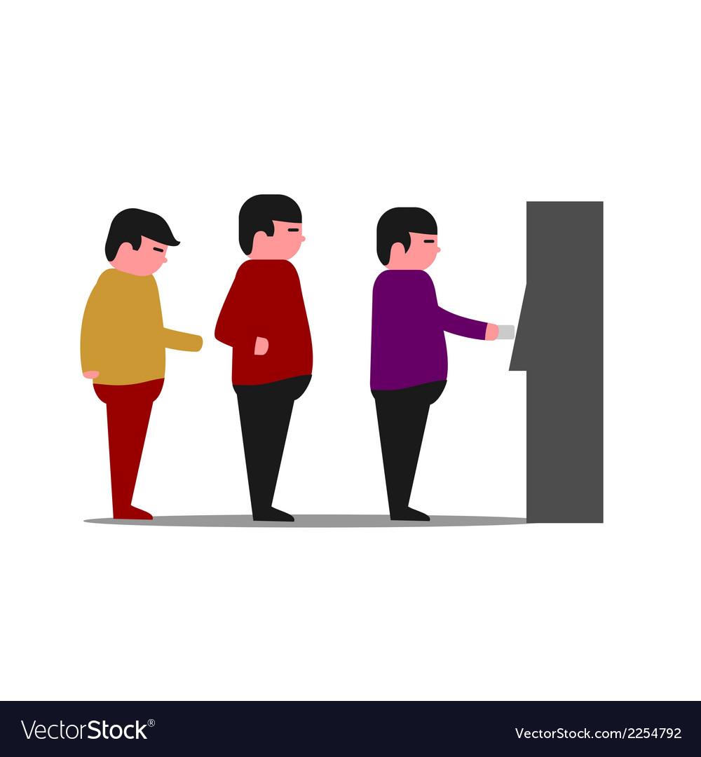 ATM Queue vector image