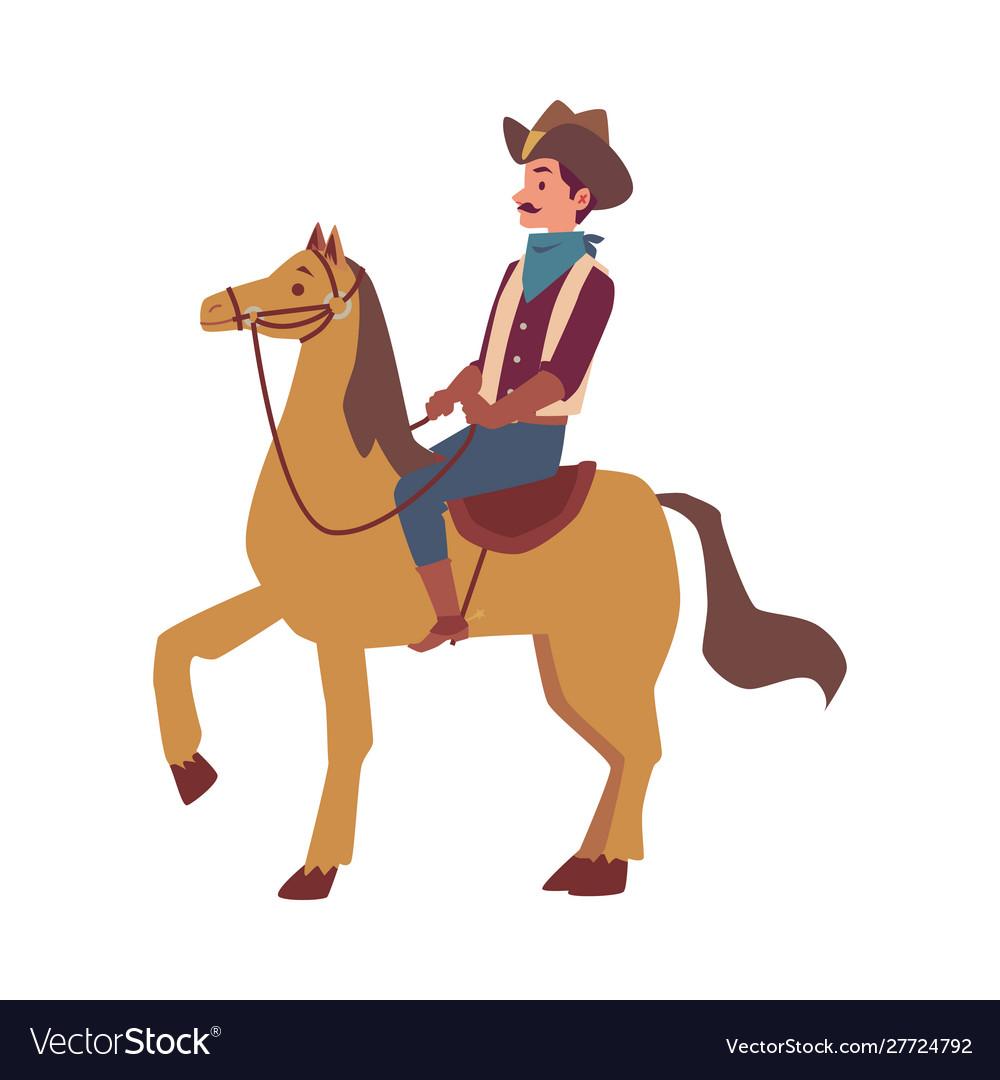 Cartoon Cowboy Man In Costume Riding A Horse Vector Image