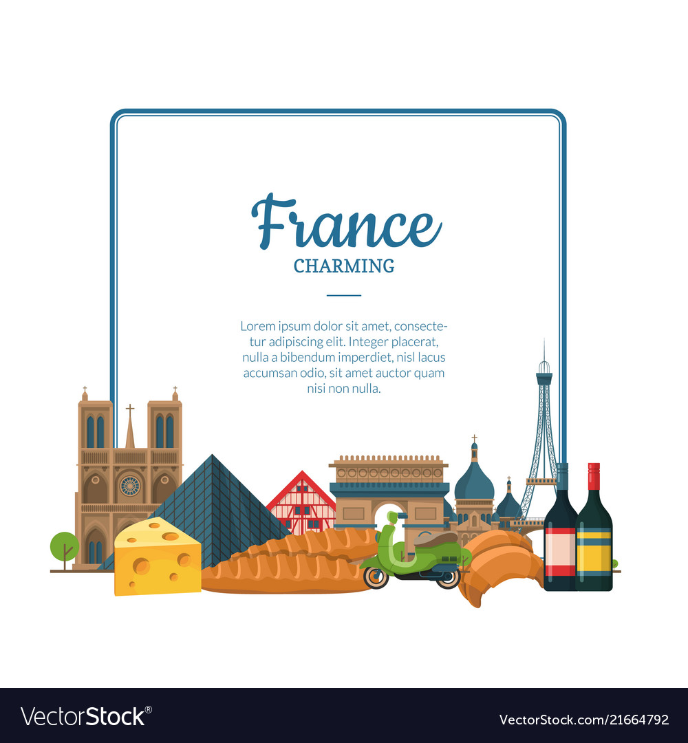 Cartoon France Sights And Objects Paris Royalty Free Vector