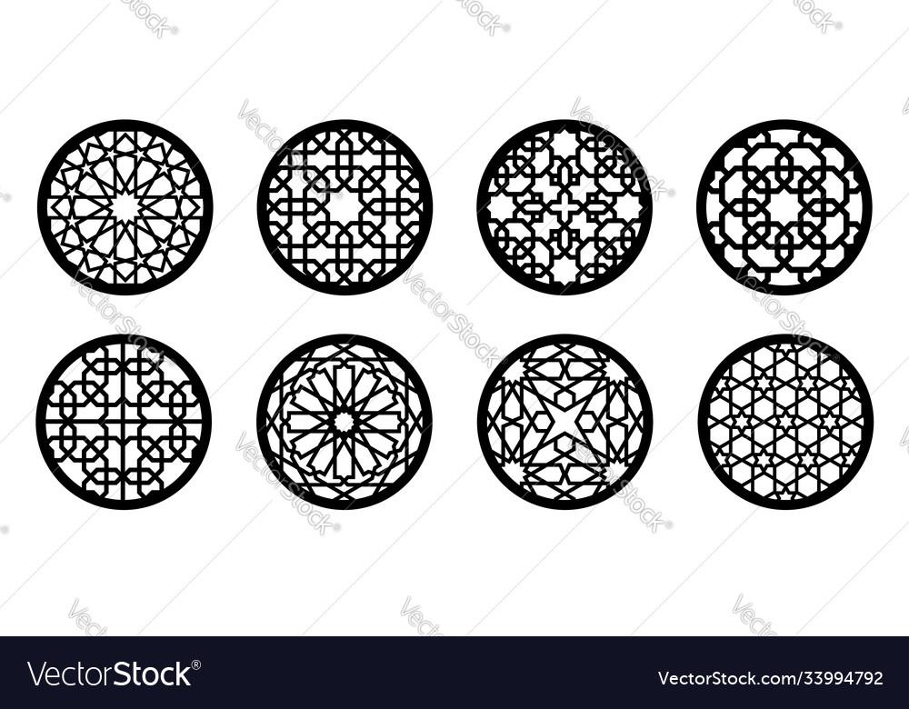 Cnc laser pattern arabesque circle round element