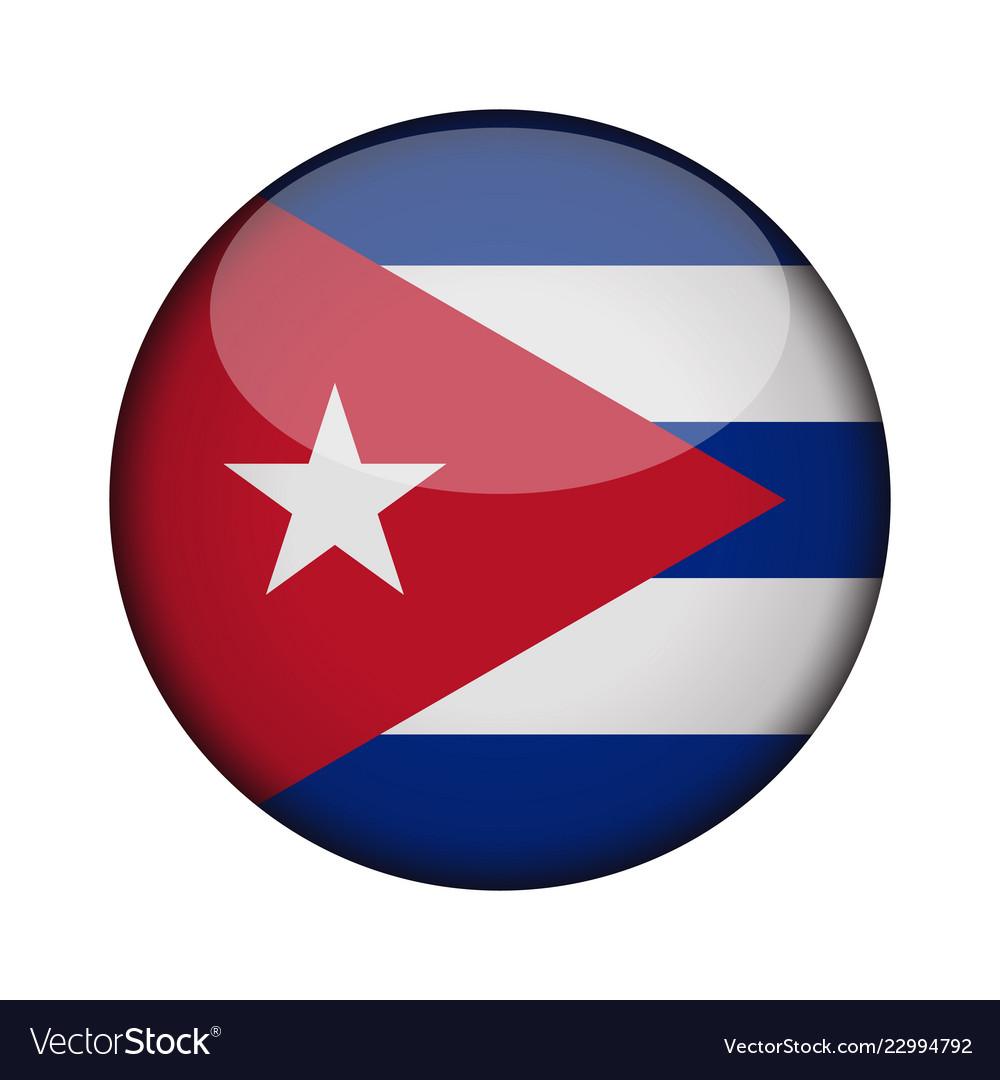 Cuba Flag In Glossy Round Button Of Icon Cuba Vector Image