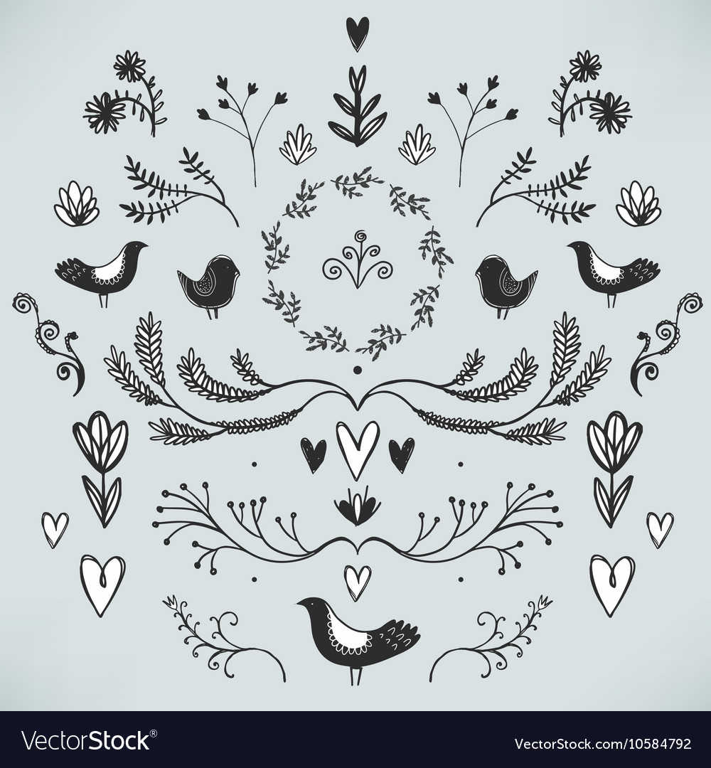 Floral decor set of hand drawn doodle
