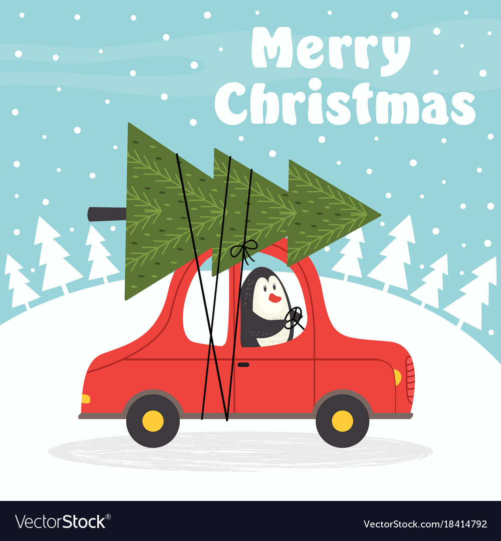 Merry Christmas Card With Penguin In Car Vector Image