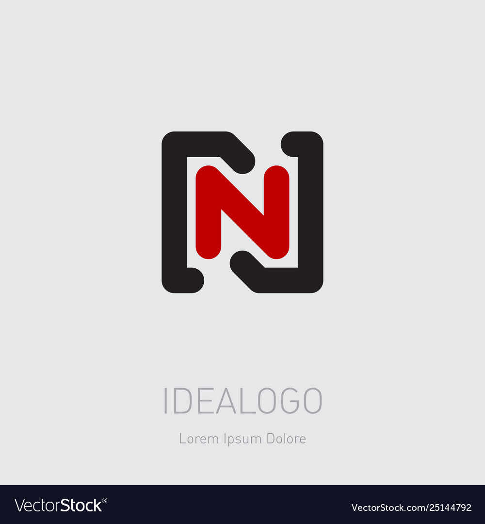N and initial logo nn - design element or icon