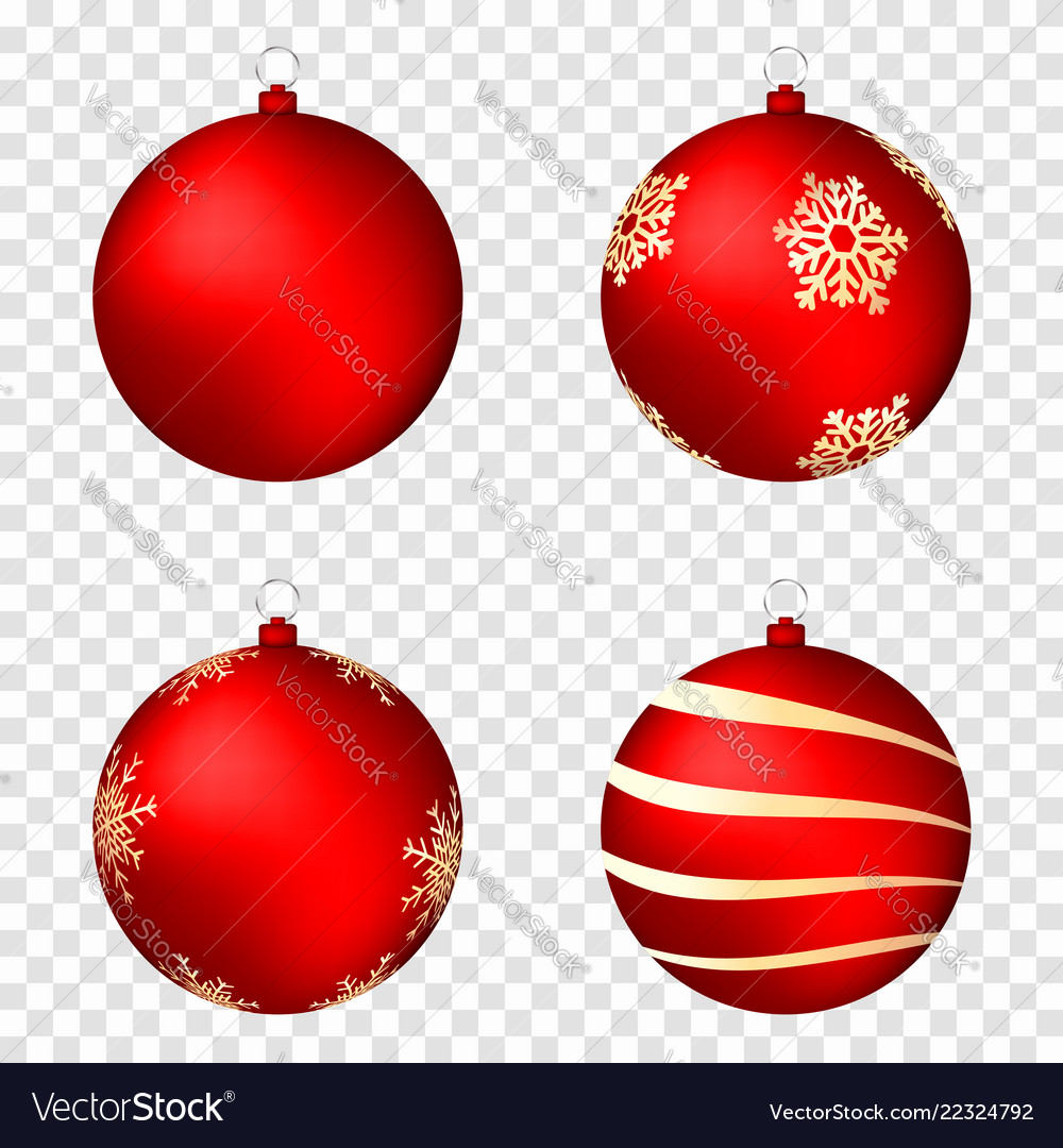 Realistic christmas balls isolated on transparent