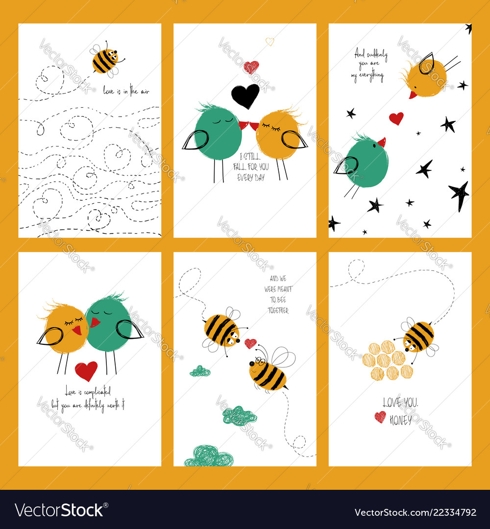 Set of love cards with bees and birds