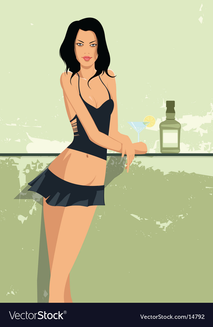 Sexy girl at bar vector image