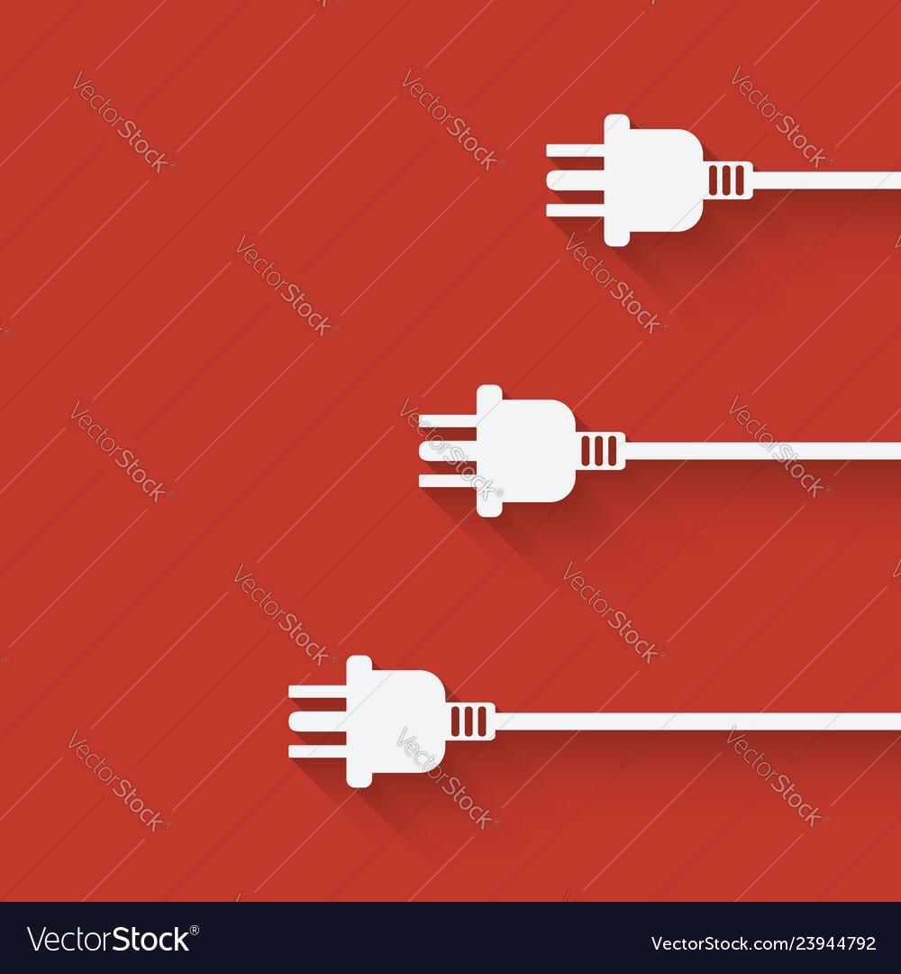 Three plugs on red background