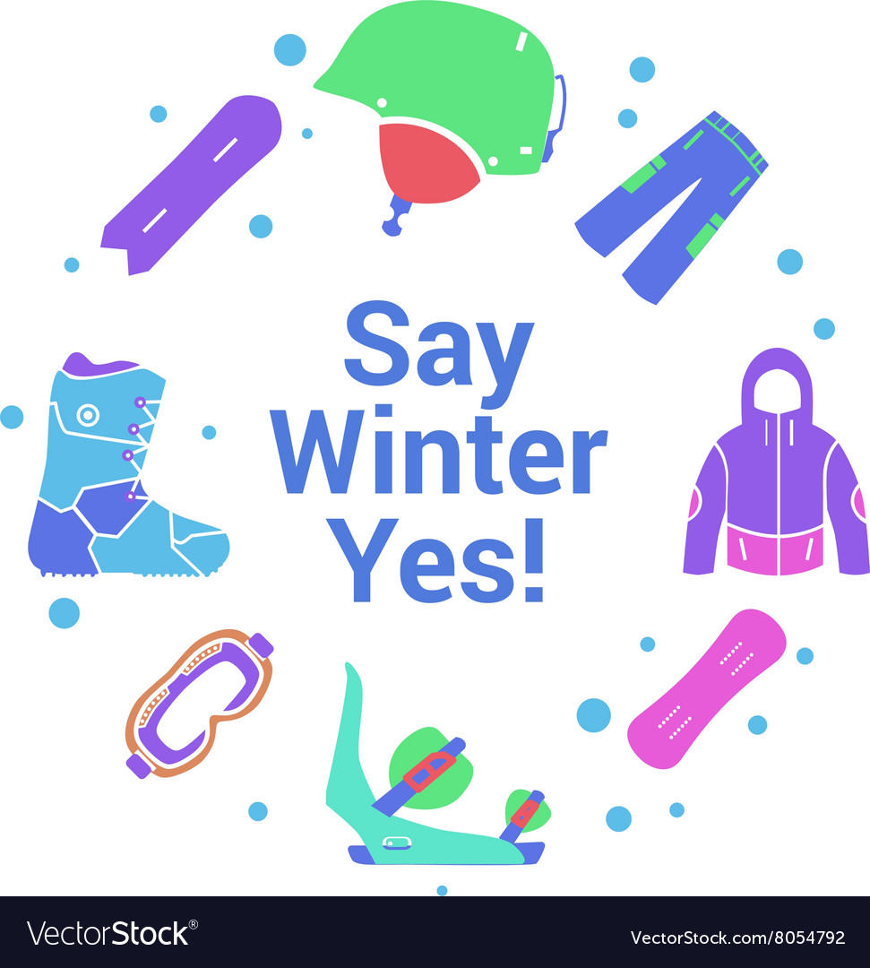 Winter activity and equipment flat icons on circle