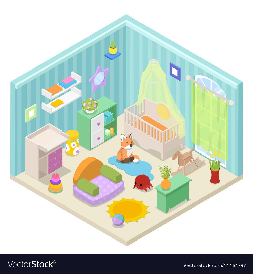 Baby room interior isometric