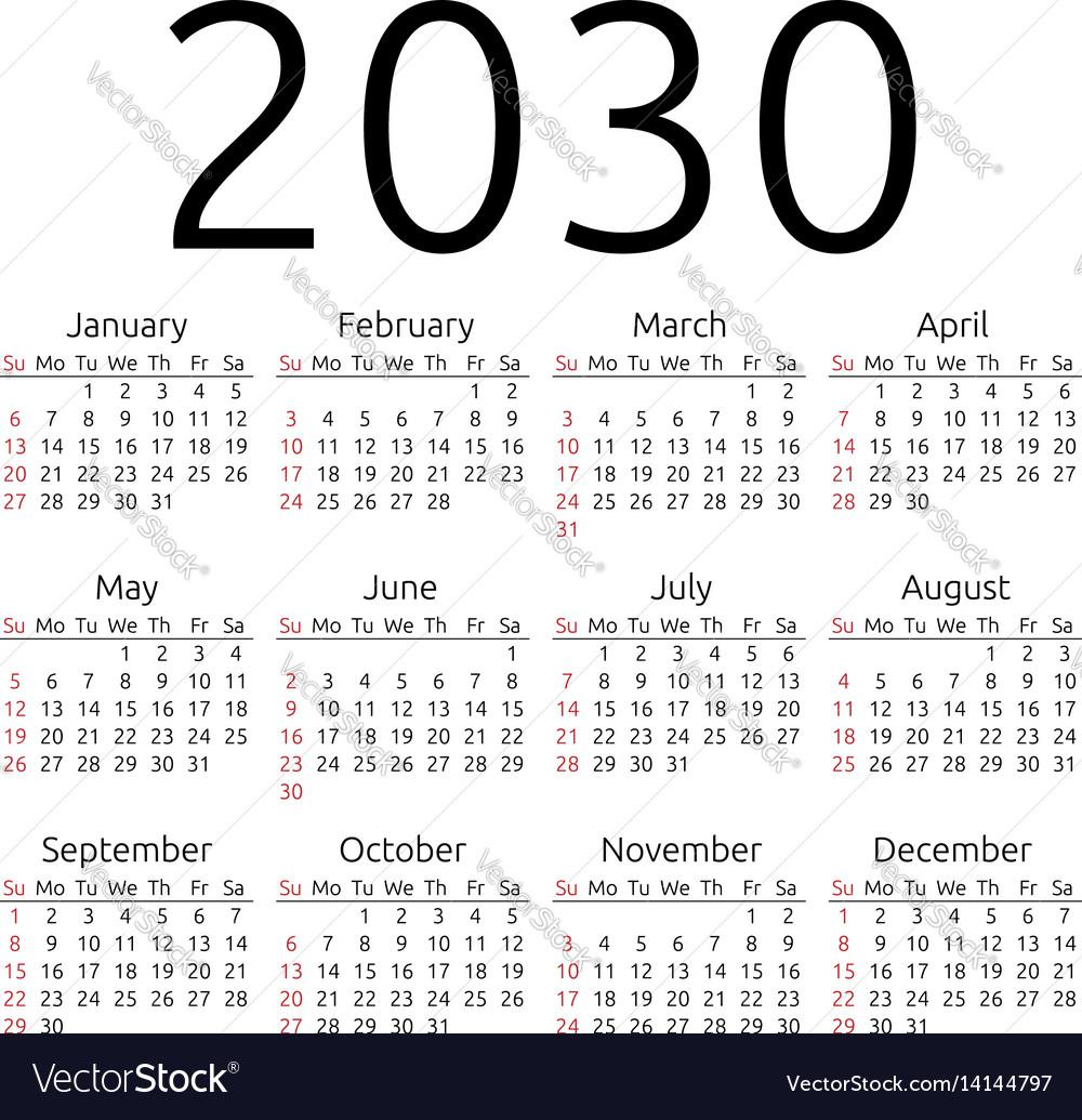 Calendar 2030 sunday vector image