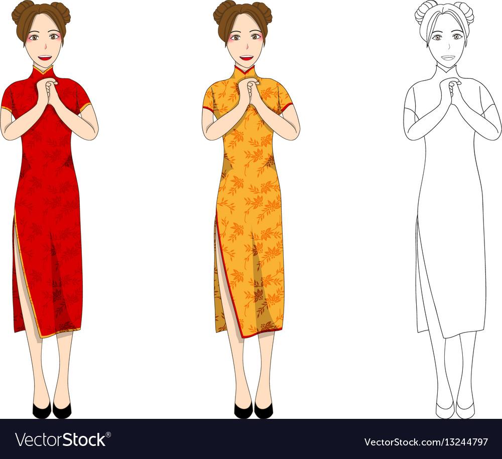 Chinese woman red qipao dress