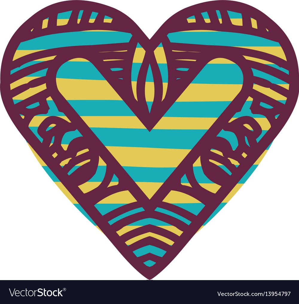 Colorful abstract heart shape with lines pattern