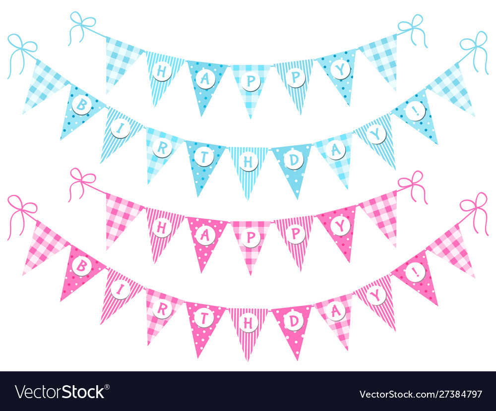 Cute vintage festive bunting flags with letters