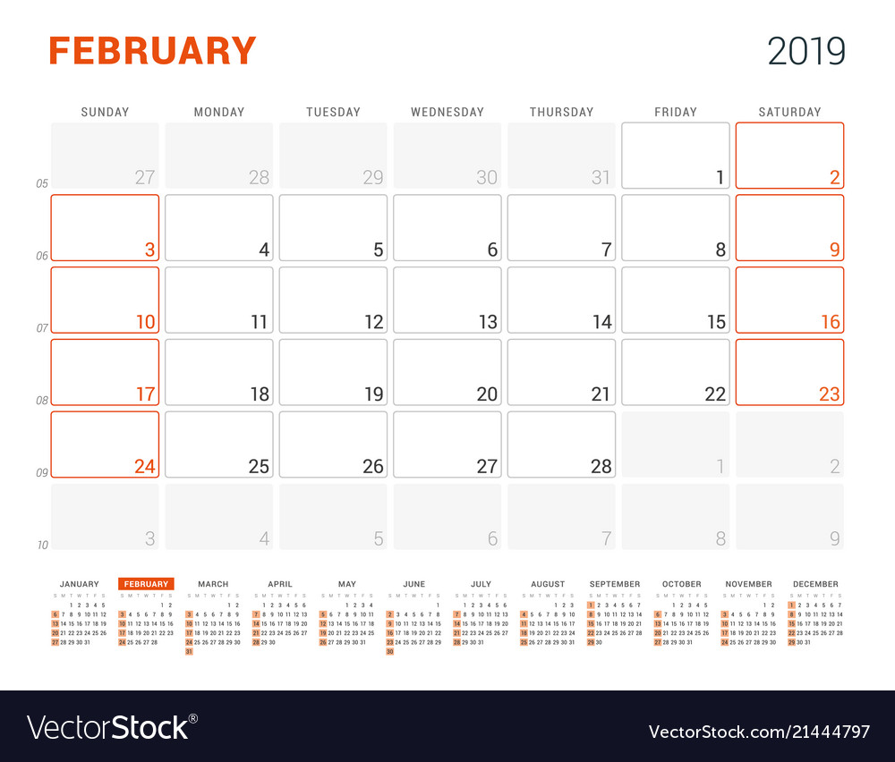 February 2019 Yearly Calendar Template February 2019 calendar planner for 2019 year Vector Image