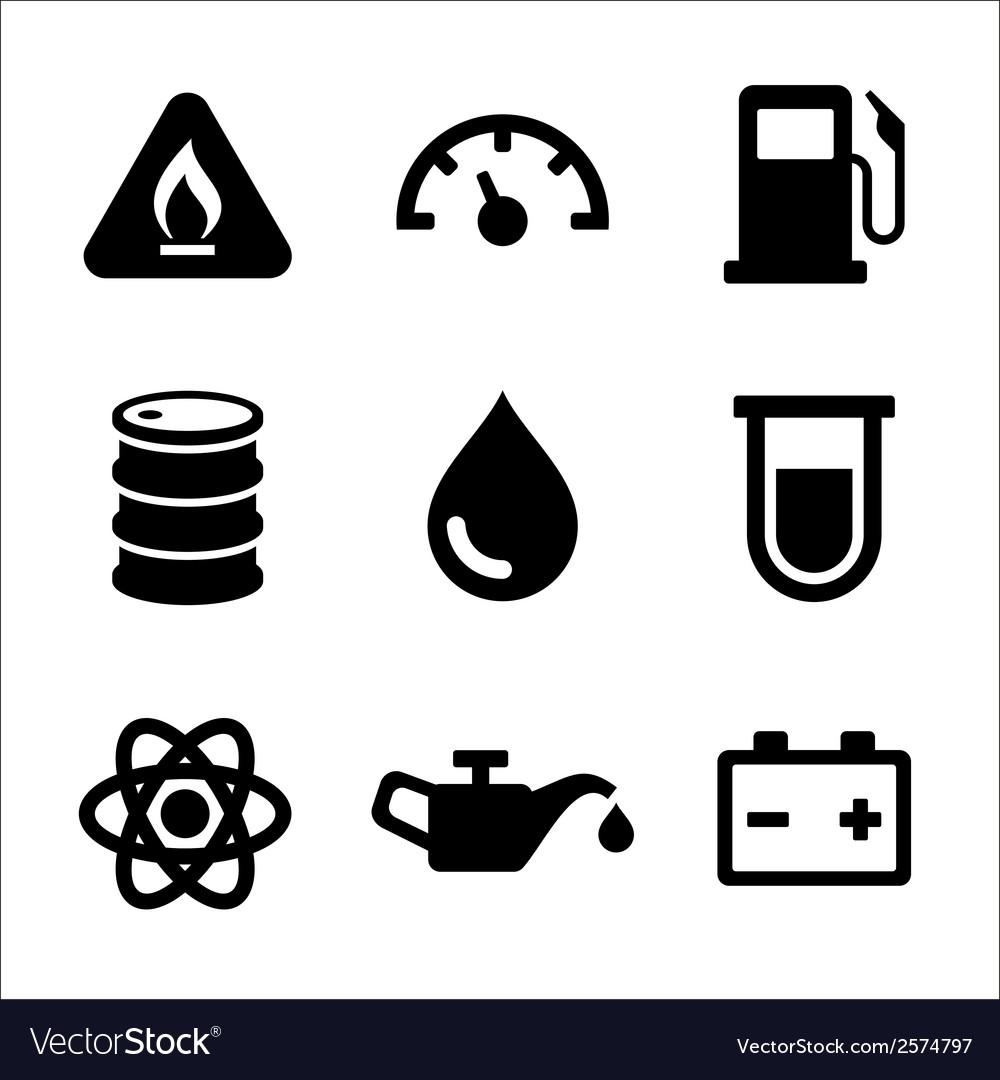 Gasoline Diesel Fuel Service Station Icons Set vector image